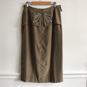 🌿Vintage 1960s Olive Green Silk Skirt - M